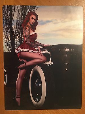 Tin Sign Vintage Rat Rod With Pin Up Model