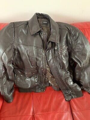 HUGO BOSS GINNOM Dark Brown Leather JACKET EU52