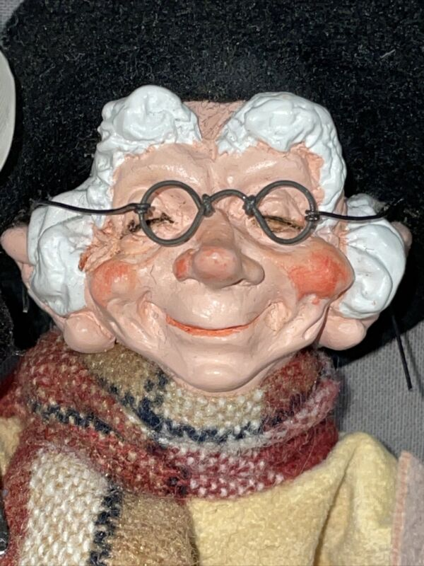 "Vtg Simpich Elf  Teedlewomp figure Handmade Retired Feather Parchment Scarf 6+"""