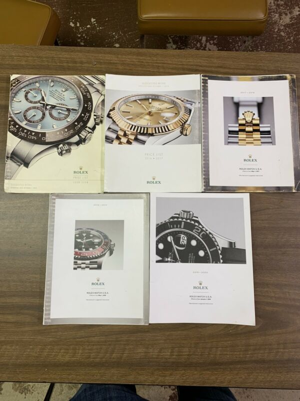 (5) AUTHENTIC ROLEX MASTER PRICE LIST FOR DEALERS - 2013-2020 (1 Missing Year)