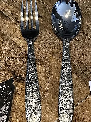 NEW IN BOX MICHAEL ARAM FOREST LEAF 2 PIECE SERVING SET