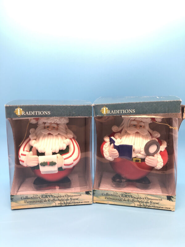 Traditions Glass Ornaments Sculpted Santa Set of 2 With Original Boxes