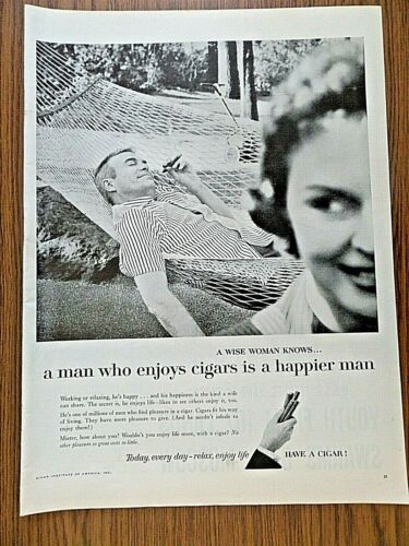 1957 Cigars Ad  Wise Woman Kbows A Man who Enjoys Cigars is a Happier Man
