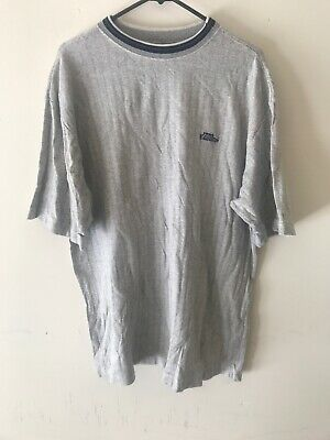 Vintage 90's No Fear Gray Textured Embroidered Logo T Shirt size XL Made in USA Grays Embroidered T-shirt