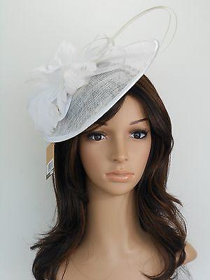 New Church Derby Cocktail Sinamay Fascinator Hat w headband 3070 White