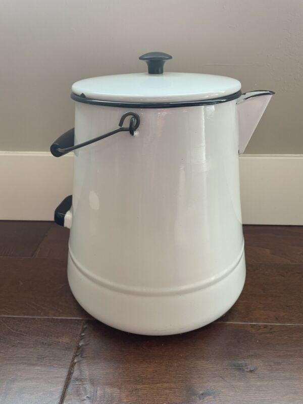 "Large 11"" Vintage Enamel Ware White Black Large Cowboy Coffee Pot Kettle Lid"