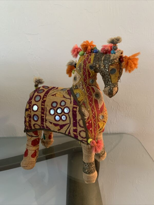 Mid Century Indian Handmade Rajasthan Fabric Patchwork Horse Folk Art Vintage