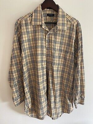 Burberry vintage shirt Beige Black Maroon XL Made In USA 17/34