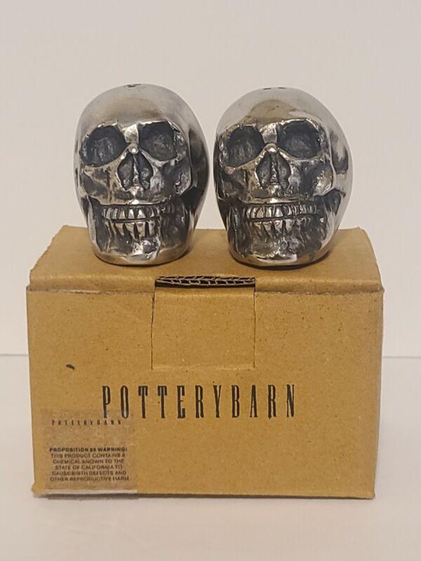 Pottery Barn Halloween Metal Skull Salt and Pepper Shakers