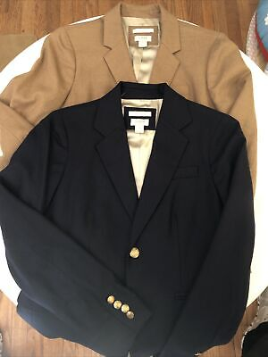 Two J Crew Womens Schoolboy Two Button Blazer Jacket Size 2 - Navy Blue & Khaki