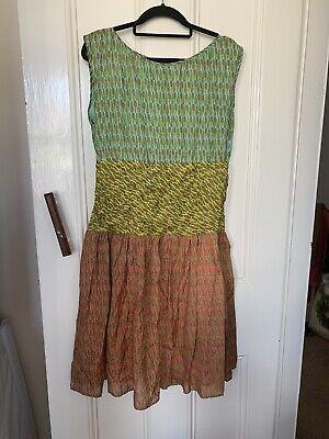 Issa London sleeveless A Line dress size UK 16 Midi Length fully lined 100% silk