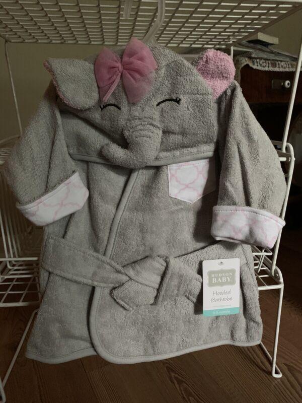 Hudson Baby Hooded Bath Robe 100% Cotton 0-9 Months ~Pretty Elephant~ New