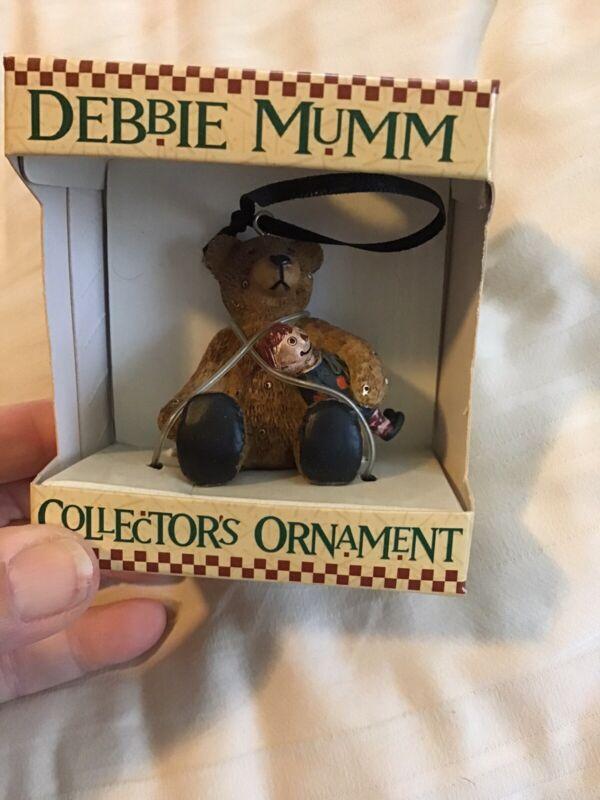 Debbie Mumm Teddy Bear holding a Dolll Christmas Ornament new In Box