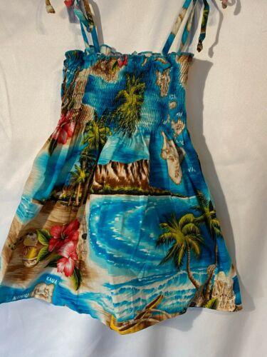 RJC HAWAIIAN SMOCKED DRESS~Toddler*Baby Girl*Blue Aloha Flower**Hula*Beach*2T