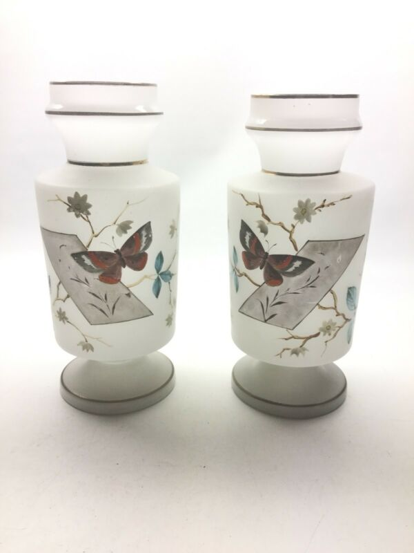 Antique Pair Of Bristol Vases With Hand Painted Butterflies