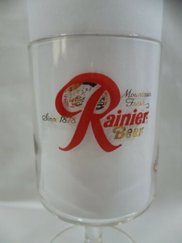 Rainier Mountain Fresh Beer Since 1878 Stemmed Glass Breweriana Vintage 1960