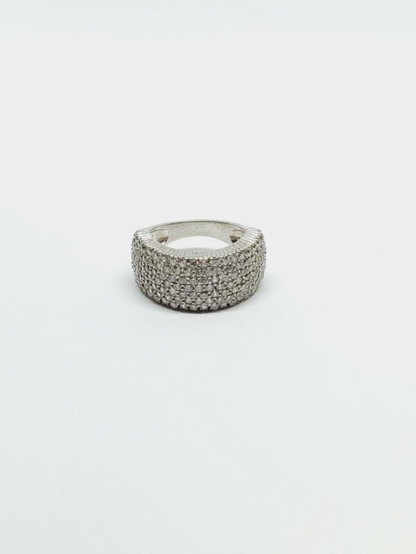 925 Sterling Silver CZ Pave Band Ring sz 5.5