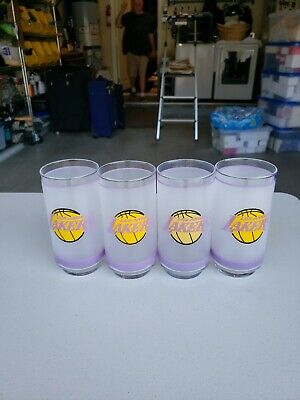 Set of 4 Vintage Los Angeles Lakers Tumbler 16 oz Frosted Glasses - Mobile - New