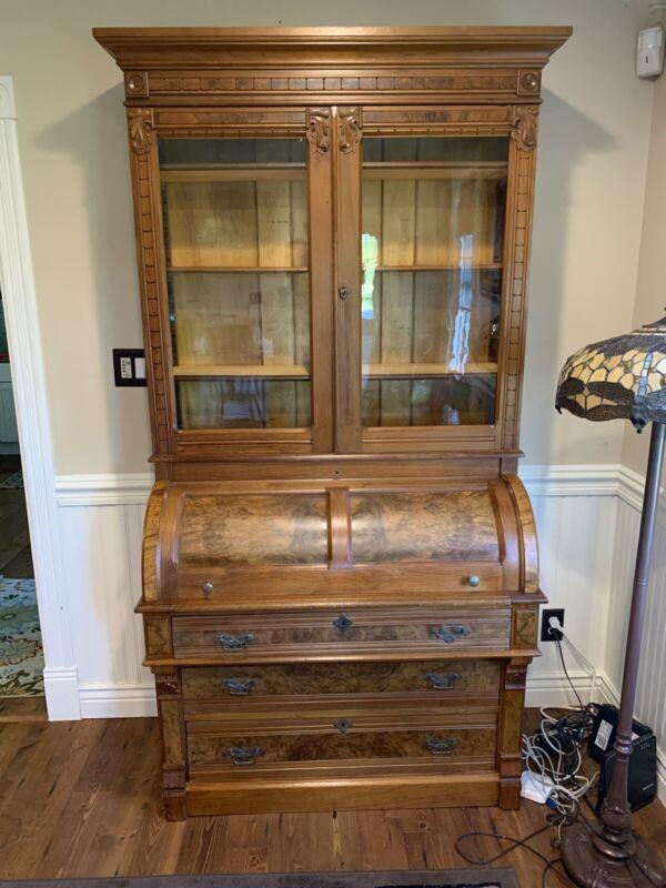 Antique Victorian Walnut 1885 Eastlake Style Bookcase USA Dresser Desk Rare