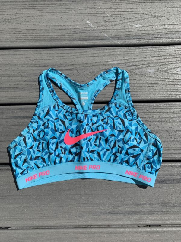 Nike Pro Girl's Sz XL Racerback Sports Bra Active ~Blue/Black/Pink Geometric~