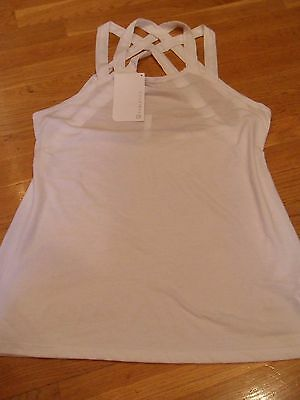New With Tags Womens Fabletics Yoga Athletic  Tank Top Cami  White  Size X Large