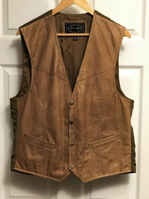 Men's Vintage Smooth Leather-Front Vest Medium - Rustic Western Brown, Poly Back