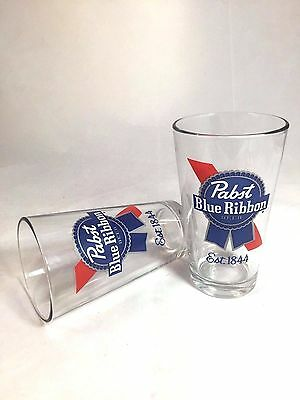 Set of 2 NEW Pabst Blue Ribbon PBR Craft Beer 16 oz Pint Glasses
