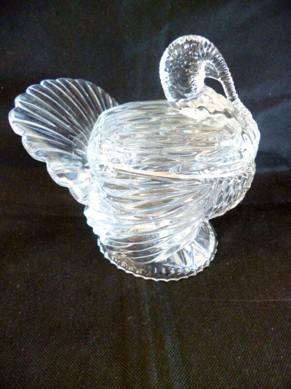 Shannon Crystal Turkey Covered Box  Clear and Very Heavy  Design of Ireland