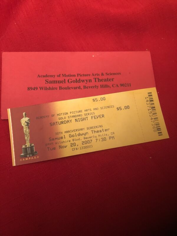 Academy Of Motion Pictures 'SATURDAY NIGHT FEVER' 30th Anniversary  Ticket
