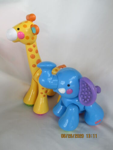 "Fisher-Price Clicker Toys Elephant 5"" Giraffe 10"" Amazing Animals Lot of 2"