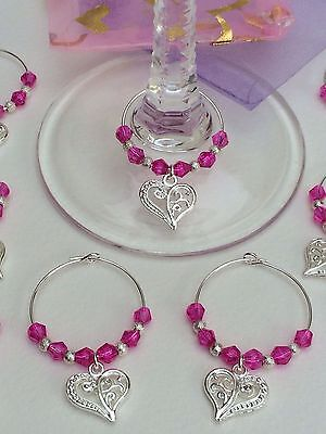 Wedding Wine Glass Charms. Favours, Party, Gift (Hot Pink Party Favors)