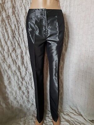 IRIS VON ARNIM grey shiny look silk mix creased tailored formal trousers size 38