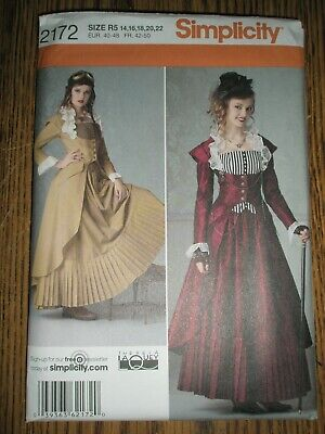 Simplicity 2172 Misses' Victorian Industrial Steampunk Costume Size R5 14-22 FF