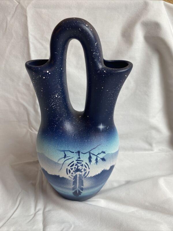 "Native American Pottery Wedding Vase Signed 10"""