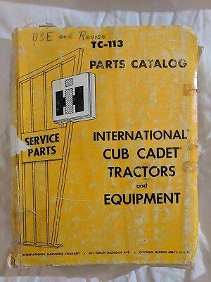 Service Parts Catalog International Harvester Tc-113 Cub Cadet Tractors 1973