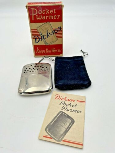 Dickson Pocket Warmer Hand In Original Box Instructions Velvet Bag Vintage 684