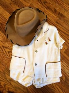 Vintage Linen Cowboy Outfit w Wool Woody Hat -PRICE REDUCED-