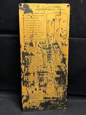 Vintage International Harvester Operating Instructions Metal Plate Td - 14a 18a