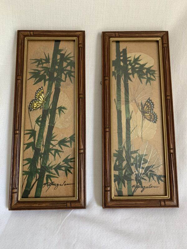 Set Of 2 Asian Decor Bamboo Butterfly Hand Painted Wall Hanging 13x5 Signed