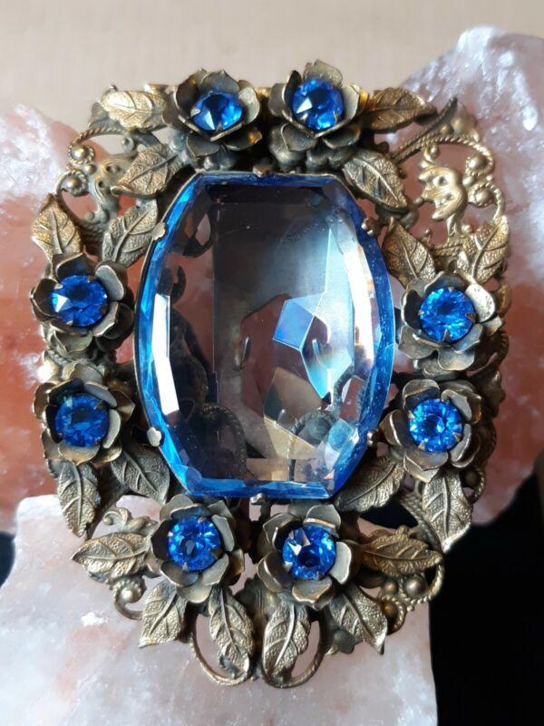 ART DECO NOUVEAU LARGE ANTIQUE DRESS CLIP LEAVES & FLOWERS OPEN BACK BLUE GLASS