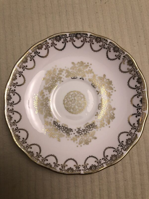 Colclough Saucer With Gold Flowers & Trim Bone China Made in England