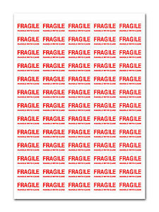 650 - FRAGILE - Handle With Care Labels Small Stickers