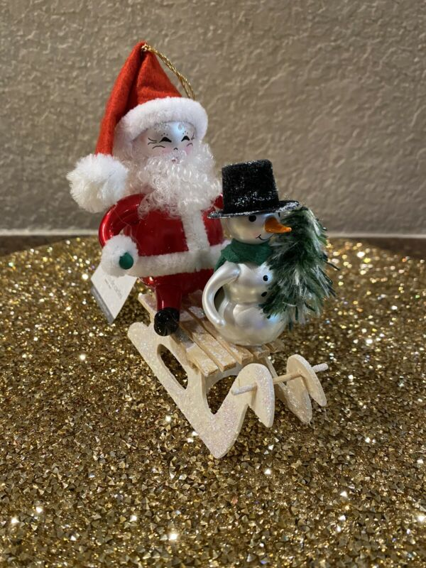 Soffieria De Carlini Sledding  Santa Claus And Snowman Ornament NWT