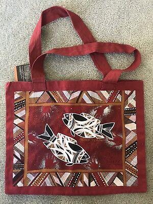 NWT Jijaka cotton 2-sided bag Aboriginal Crocodile Silver Perch screen print new