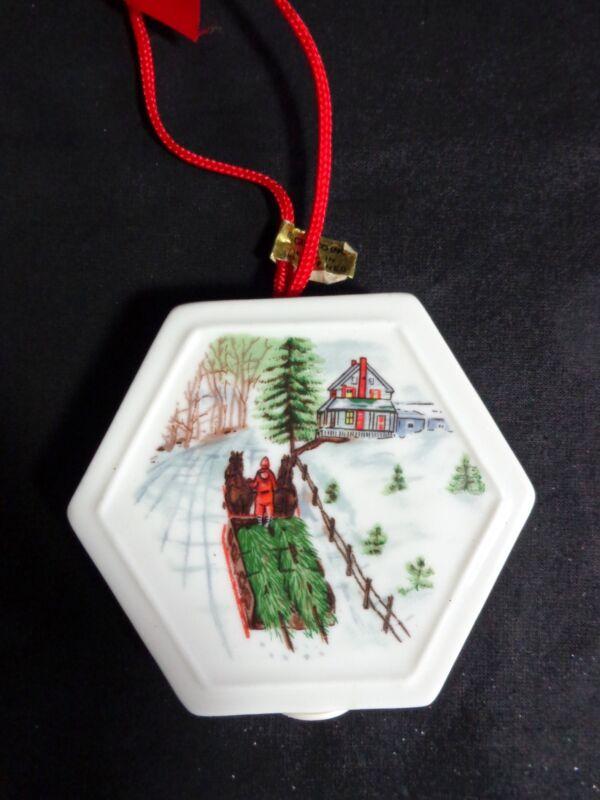 "Porcelain Fragrance Sachet 3"" Christmas Ornament Horse Drawn Sleigh Giftco"