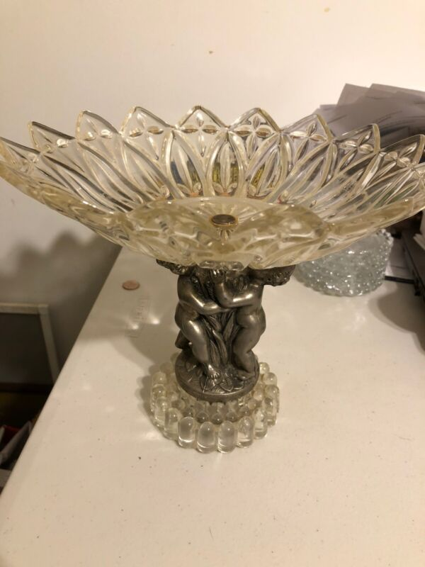 Antique Glass Brass Cherub Putti Pedestal Candy Compote Dish 10""