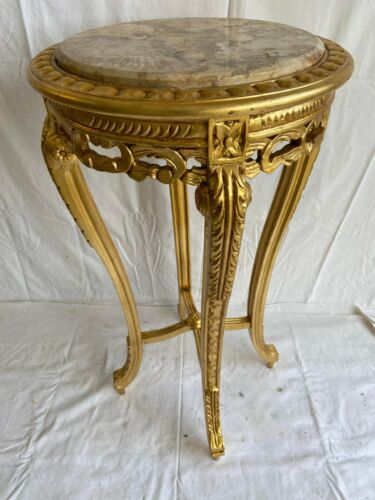 PEDESTAL TABLE LOUIS XV STYLE GOLD WITH MARBLE