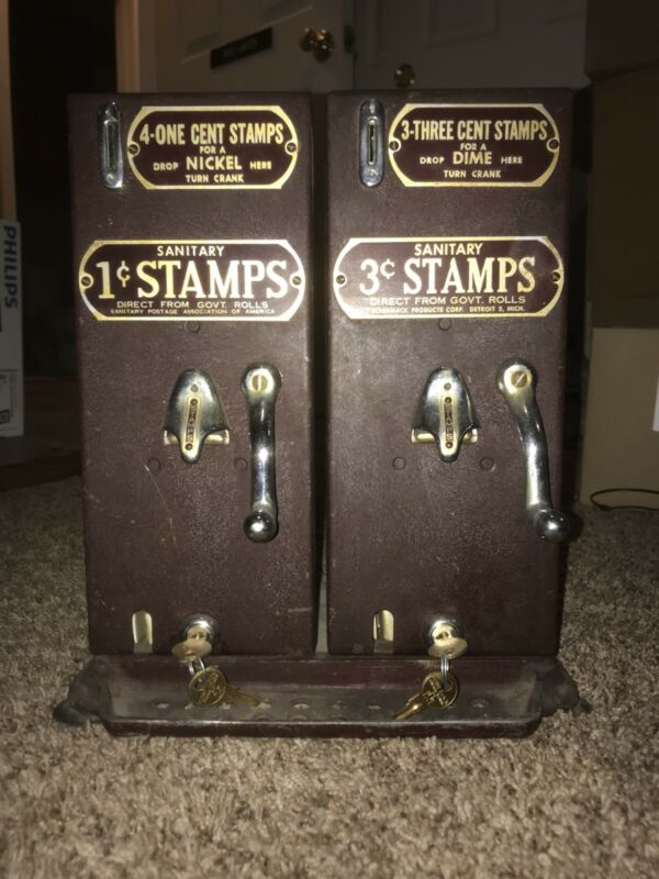 Schermack Prod co. Detroit 1 & 3 cent Sanitary Stamp Vending Machine w/ keys