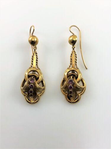 Antique Victorian 18k Dangling Amethyst Earrings