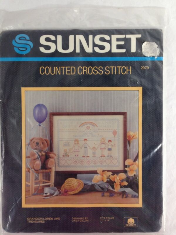 "Sunset Grandchildren Are Treasures Counted Cross Stitch Kit 2979 NOS  11"" X  14"""